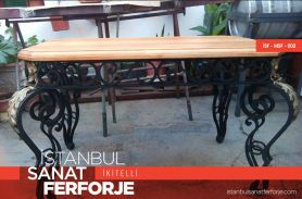Gold Embroidered, Wood Pattern, Wrought Iron Table