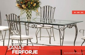 Black Modern Wrought Iron Chairs and Tables