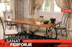Wooden Detailed Modern Wrought Iron Chairs and Tables