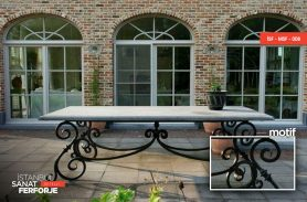 Marble Detail Black Wrought Iron Table