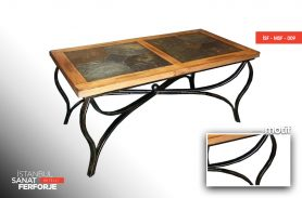 Wooden Pattern, Marble Made, Wrought Iron Table