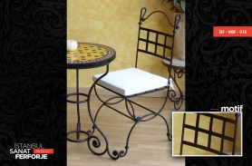 Square Patterned, White Cushioned, Modern Wrought Iron Chair