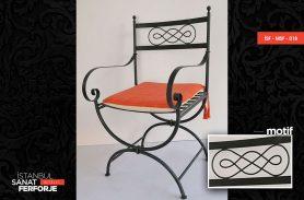 Orange Cushioned, Modern, Wrought Iron Chair