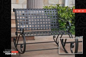 Modern Wrought Iron Bench With Grid