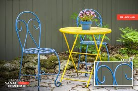 Colorful Modern Wrought Iron Chairs and Tables