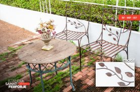 Wood Detail Wrought Iron Chairs and Tables