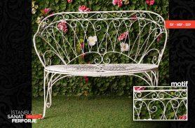 White Elegant Wrought Iron Bench