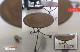 Wooden Detail Elegant Wrought Iron Table
