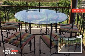 Glass Detail, Black, Modern Wrought Iron Table and Chair Set
