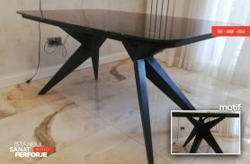 Black Marble Detail Modern Wrought Iron Table