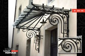Frosted Glass Design Wrought Iron Porch