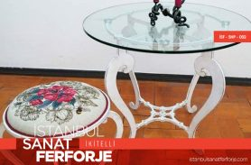 Glass Detail, White, Curved, Modern Wrought Iron Coffee Table