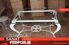 Glassed White Wide Wrought Iron Coffee Table