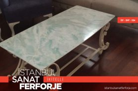 Marble Detail White Wrought Iron Coffee Table