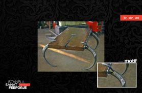 Wood Detail Wrought Iron Coffee Table with Antler Legs