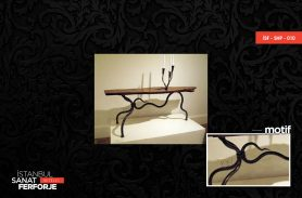 Wooden Detail Wrought Iron Coffee Table