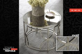 2020 Wrought Iron Coffee Table with Marble Pattern in Silver Color