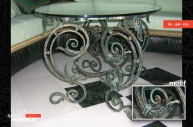 Glass Detail, Antique Pattern, Elegant Wrought Iron Coffee Table