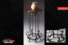 Wooden Detailed Long Wrought Iron Coffee Table