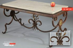 Marble Detailed, Wood Engraved 2020 Wrought Iron Coffee Table