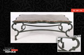Marble Detailed, Elegant Wrought Iron Coffee Table