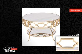Marble Detail Gold Processing Wrought Iron Coffee Table