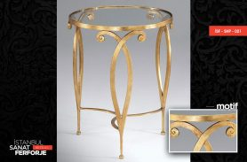Glass Detail Gold Processing Wrought Iron Coffee Table
