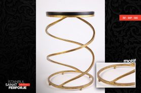 Spiral Design Wooden Detail Wrought Iron Coffee Table