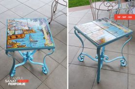 Ceramic Detail Colored Wrought Iron Coffee Table