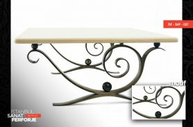 Wooden Detail Elegant Wrought Iron Coffee Table