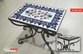 Tile Detail Black Wrought Iron Coffee Table
