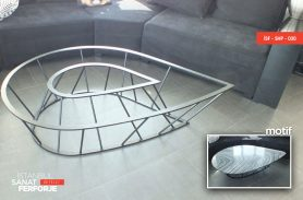 Stone Detail Damla Design Wrought Iron Coffee Table