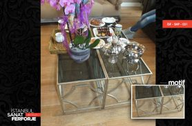 Glass Detay Metal Wrought Iron Coffee Table