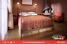 Double Modern Design Wrought Iron Bed