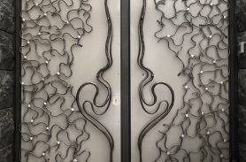 Special Design Ivy, Gray Color Wrought Iron Door