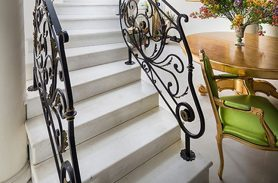 Gold Embroidered, Elegant Design Wrought Iron Stair Railing