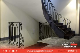 Row Hollow Rectangular Detail, Wrought Iron Stair Railing