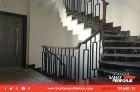 Modern Wrought Iron Stair Railing With Wooden Handle