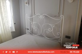 White, Handcrafted Wrought Iron Bed