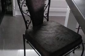 Velvet Veneer, Black Wrought Iron Chair