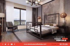 Black, Modern Rectangular Design, Wrought Iron Bed