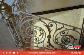 Handcrafted, Gold Leaf, White, Villa Wrought Iron Stair Railing