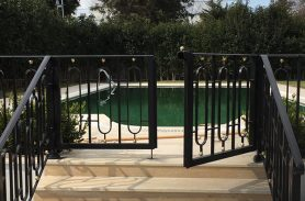Black, Oval Rectangular Pattern, Wrought Iron Garden Entrance Door