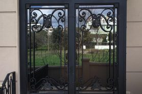 Double Door, Glass Detailed, Black Villa Wrought Iron Door