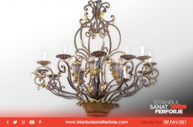 Indoor, Copper and Gold Processing Wrought Iron Chandelier