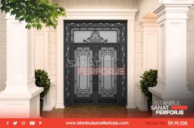 Black, Armored Detailed, Wrought Iron Entrance Door