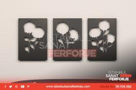 Triple, Carnation Pattern, Laser Cut, Decorative Wrought Iron Table