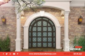 Double Door, Glass Coating, Square Pattern Detailed, Wrought Iron Entry Door