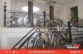 Gold Hand Work, Wrought Iron Black Stair Railing, Ağrı Doğubeyazıt Project