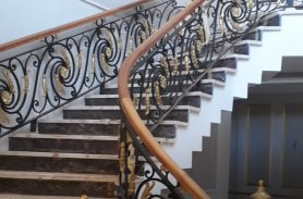 Wooden Handrail, Wrought Iron Stair Railing, Ağrı Doğubeyazıt Project